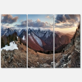 Designart - Layers of Foggy Hills Panorama - Landscape Glossy Metal Wall Art