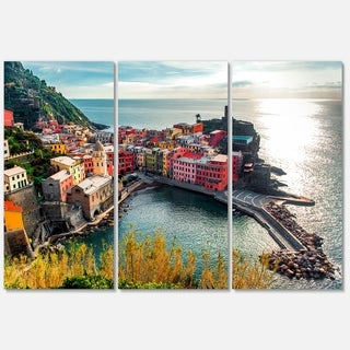 Designart - Vernazza Bay Aerial View - Large Seascape Glossy Metal Wall Art