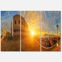 Designart - Bright Sunrise in Italy Panorama - Cityscape Glossy Metal Wall Art