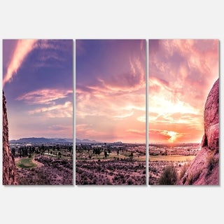 Designart - Evening Red Sky over Phoenix Arizona - Landscape Glossy Metal Wall Art