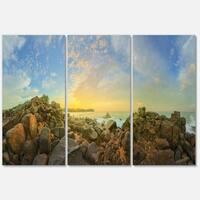 Designart - Sri Lanka Romantic Beach Panorama - Large Seascape Glossy Metal Wall Art
