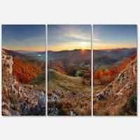 Designart - Majestic Sunset in Mountain Landscape - Landscape Glossy Metal Wall Art