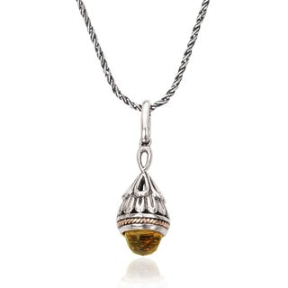 Avanti Sterling Silver and 18K Yellow Gold Faceted Citrine Drop Pendant Necklace