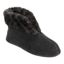 Women's Dearfoams Velour Bootie Slipper with Memory Foam Dark Heather Grey