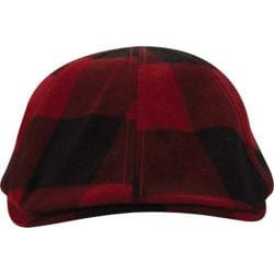 Men's A Kurtz Plaid Flat Cap Dark Red
