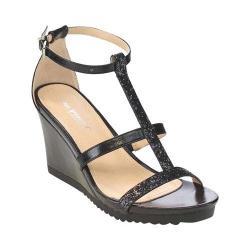Women's L & C Aislinn-02 T-Strap Wedge Sandal Black