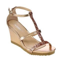 Women's L & C Aislinn-02 T-Strap Wedge Sandal Champagne
