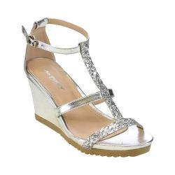 Women's L & C Aislinn-02 T-Strap Wedge Sandal Silver