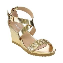 Women's L & C Aislinn-03 Quarter Strap Wedge Sandal Gold