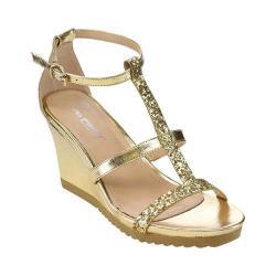 Women's L & C Aislinn-02 T-Strap Wedge Sandal Gold