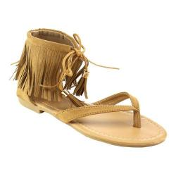 Women's L & C Ruffle-7 Thong Sandals Tan