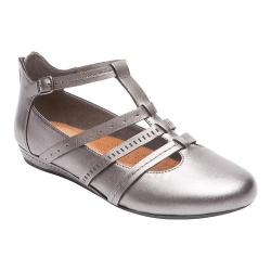 Women's Rockport Cobb Hill Gracie T-Strap Pewter Leather