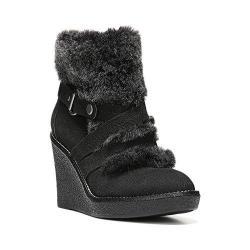 Women's Fergie Footwear Omega Wedge Bootie Black Leather/Faux Fur
