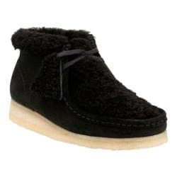 Women's Clarks Wallabee Chukka Boot Black Warm Lined Suede