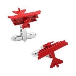 Men's Cufflinks Inc Baron Airplane Cufflinks Red