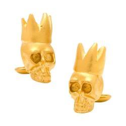 Men's Cufflinks Inc Gold King Skull Cufflinks Gold