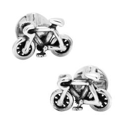 Men's Cufflinks Inc Moving Bicycle Cufflinks Silver