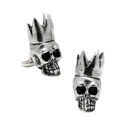 Men's Cufflinks Inc Pewter King Skull Cufflinks Silver