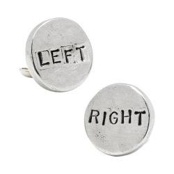 Men's Cufflinks Inc Pewter Left/Right Cufflinks White