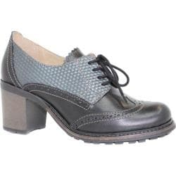 Women's Dromedaris Harper Heeled Oxford Black Leather