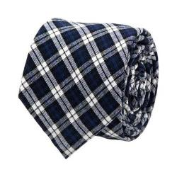 Men's Cufflinks Inc Plaid Cotton Tie Navy