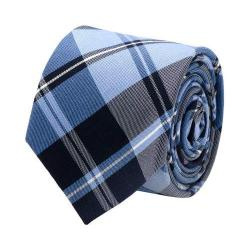 Men's Cufflinks Inc Plaid Silk Cotton Tie Blue