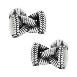 Men's Cufflinks Inc Sterling Braided Mother of Pearl Rope Cufflinks Silver