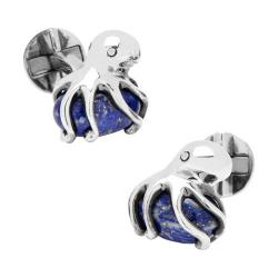 Men's Cufflinks Inc Sterling Octopus on Lapis Cufflinks Blue