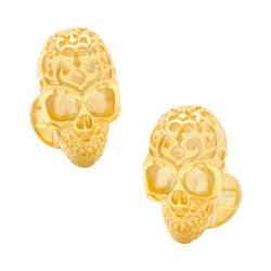 Men's Cufflinks Inc Vermeil Fatale Skull Cufflinks Gold