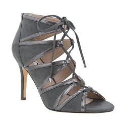 Women's Nina Carlyle Peep-Toe Bootie Pewter Patent Lux/Grey Glam Suede