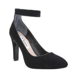 Women's Nina Ivelis Ankle-Strap Pump Black Glam Suede/Black Patent
