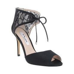 Women's Nina Malini Two-Piece Heeled Sandal Black Satin/Lacey Mesh