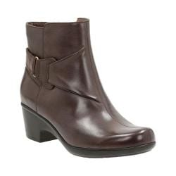 Women's Clarks Malia Mccall Ankle Boot Dark Brown Cow Full Grain Leather