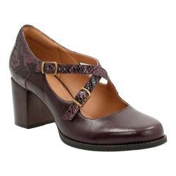 Women's Clarks Tarah Presley Adjustable Strap Shoe Aubergine Cow Full Grain Leather/Snake Combination