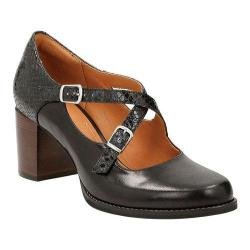 Women's Clarks Tarah Presley Adjustable Strap Shoe Black Cow Full Grain Leather/Snake Combination