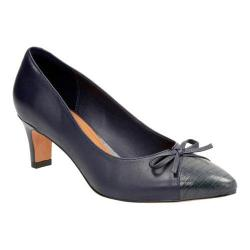 Women's Clarks Crewso Calica Pump Navy Sheep Full Grain Leather/Cow Leather