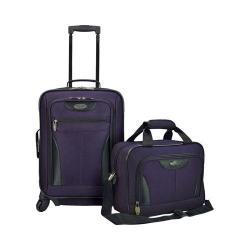 US Traveler Fashion 2-Piece Carry On Luggage Set Purple