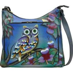 Women's ANNA by Anuschka Hand Painted Large Organizer Handbag 8178 Midnight Owl