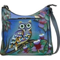 Women's ANNA by Anuschka Hand Painted Large Organizer Handbag 8178 Midnight Owl|https://ak1.ostkcdn.com/images/products/127/458/P19400413.jpg?impolicy=medium