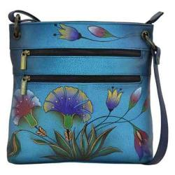Women's ANNA by Anuschka Hand Painted Leather Medium Crossbody 8201 Turkish Garden Denim
