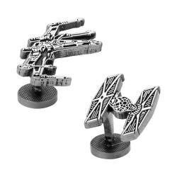 Men's Cufflinks Inc X-Wing and TIE Fighter Battle Ships Cufflinks Silver