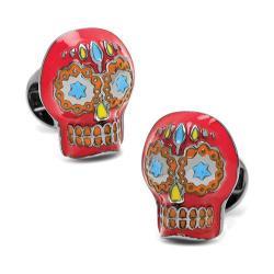 Men's Cufflinks Inc Day of the Dead Skull Cufflinks Red