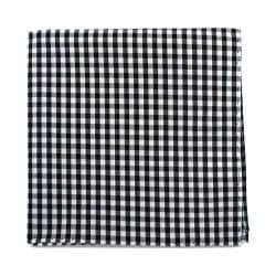 Men's Cufflinks Inc Gingham Cotton Pocket Square Black/White