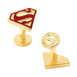 Men's Cufflinks Inc Gold Enamel Superman Shield Cufflinks Gold