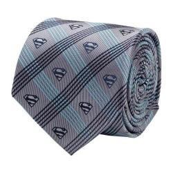 Men's Cufflinks Inc Superman Logo Plaid Tie Gray