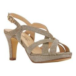 Women's Rose Petals by Walking Cradles Poise Strappy Slingback Sandal Pewter Sparkle Fabric