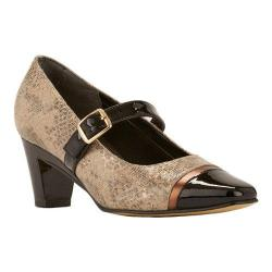 Women's Rose Petals by Walking Cradles Radiant Mary Jane Taupe & Gold Lizard Print/Black Patent