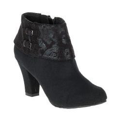 Women's Soft Style Creel Bootie Black Faux Suede/Black Paisley Faux Suede