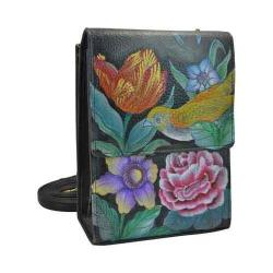 Women's Anuschka Hand Painted Leather Mini Sling Organizer Vintage Bouquet