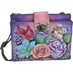 Women's Anuschka RFID Blocking Double Zip Cross Body Organizer Luscious Lilies